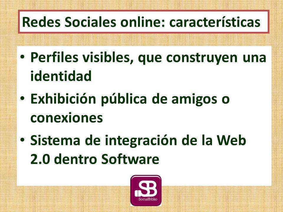 Perfiles visibles, que construyen una identidad Exhibición pública de amigos o conexiones Sistema de integración de la Web 2.0 dentro Software Redes Sociales online: características
