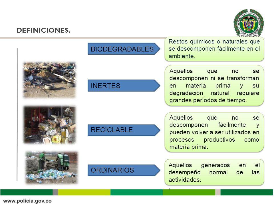 DEFINICIONES. Restos químicos o naturales que se descomponen fácilmente en el ambiente. Aquellos que no se descomponen ni se transforman en materia pr