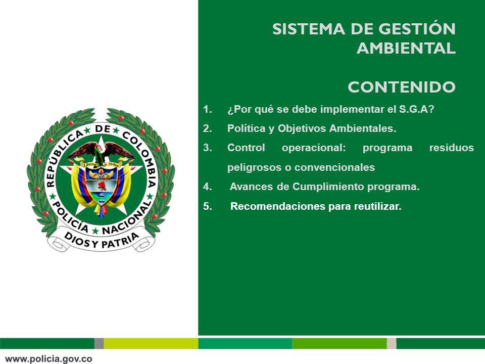 SISTEMA DE GESTIÓN AMBIENTAL CONTENIDO 1.¿Por qué se debe implementar el S.G.A? 2.Política y Objetivos Ambientales. 3.Control operacional: programa re