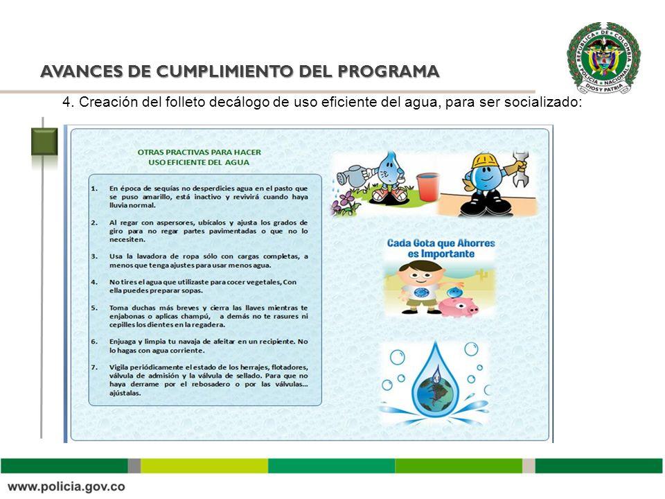 AVANCES DE CUMPLIMIENTO DEL PROGRAMA 4. Creación del folleto decálogo de uso eficiente del agua, para ser socializado: