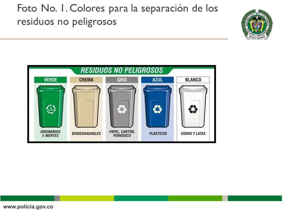 Foto No. 1. Colores para la separación de los residuos no peligrosos