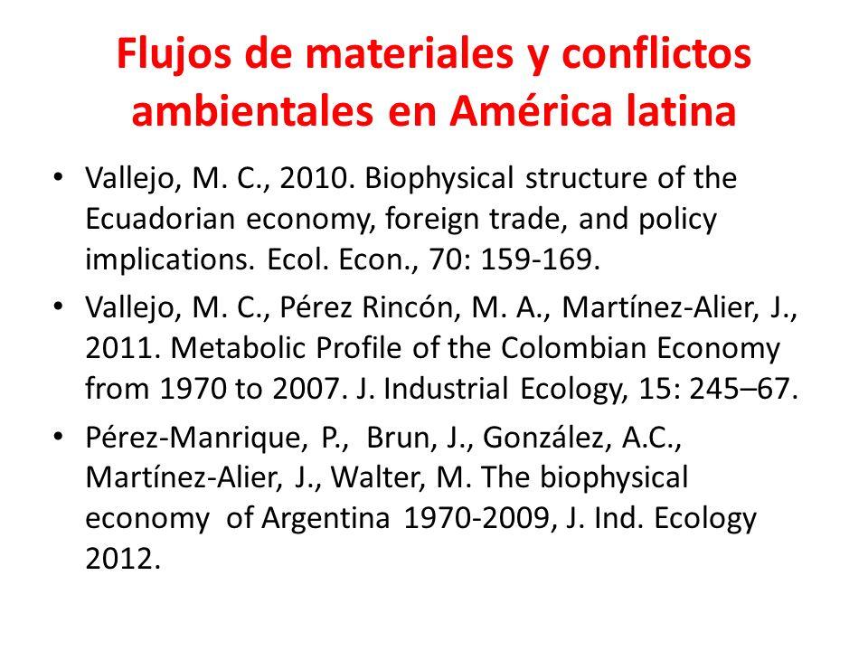 Flujos de materiales y conflictos ambientales en América latina Vallejo, M.