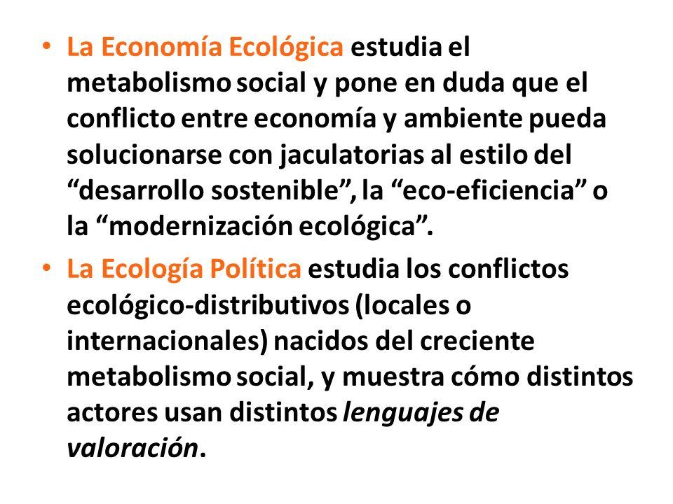 La Economía Ecológica estudia el metabolismo social y pone en duda que el conflicto entre economía y ambiente pueda solucionarse con jaculatorias al estilo del desarrollo sostenible, la eco-eficiencia o la modernización ecológica.