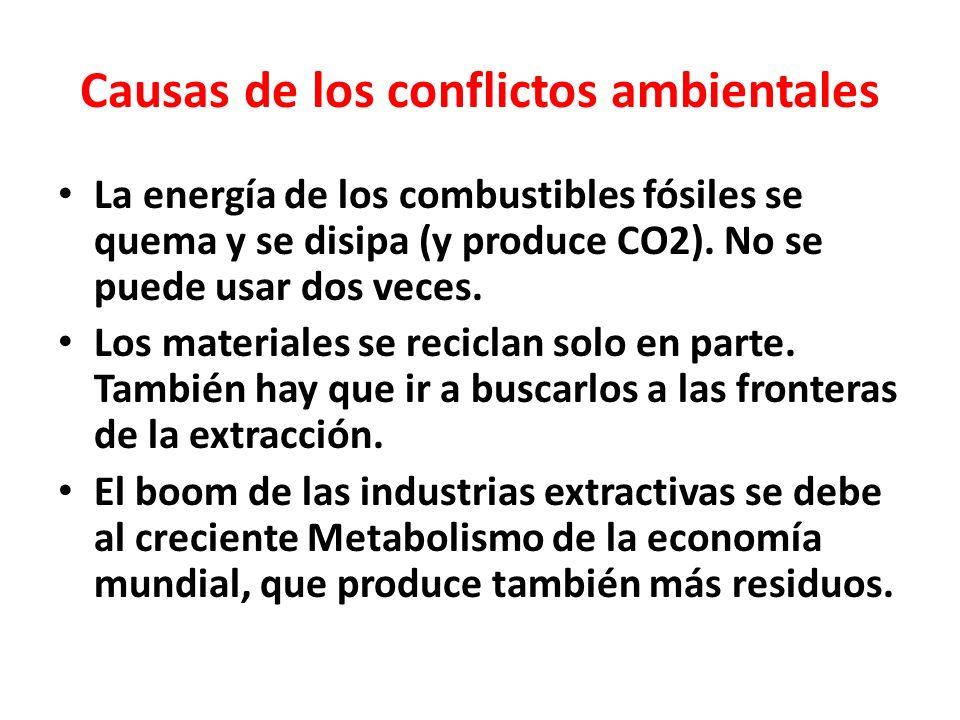 Causas de los conflictos ambientales La energía de los combustibles fósiles se quema y se disipa (y produce CO2).