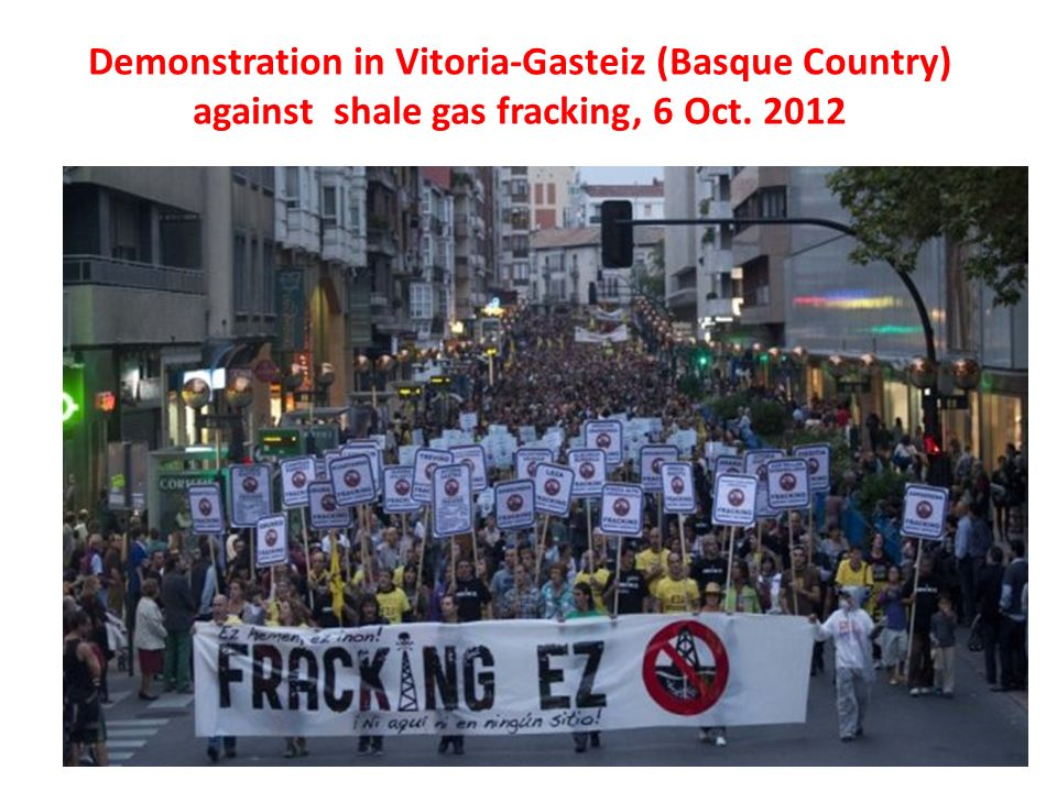 Demonstration in Vitoria-Gasteiz (Basque Country) against shale gas fracking, 6 Oct. 2012