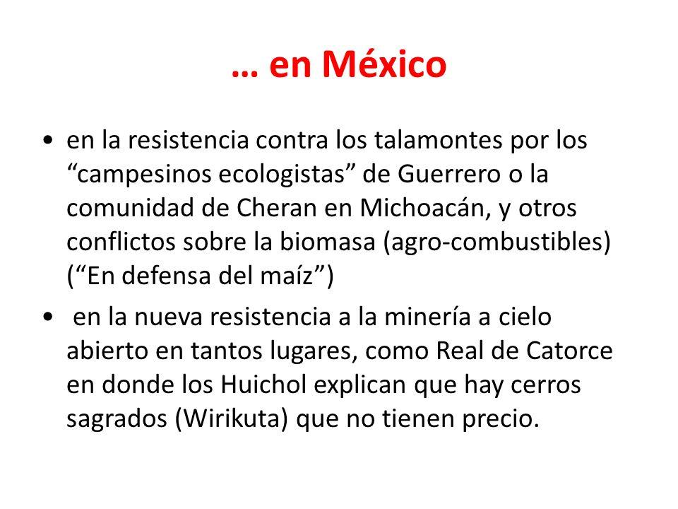… en México en la resistencia contra los talamontes por los campesinos ecologistas de Guerrero o la comunidad de Cheran en Michoacán, y otros conflictos sobre la biomasa (agro-combustibles) (En defensa del maíz) en la nueva resistencia a la minería a cielo abierto en tantos lugares, como Real de Catorce en donde los Huichol explican que hay cerros sagrados (Wirikuta) que no tienen precio.