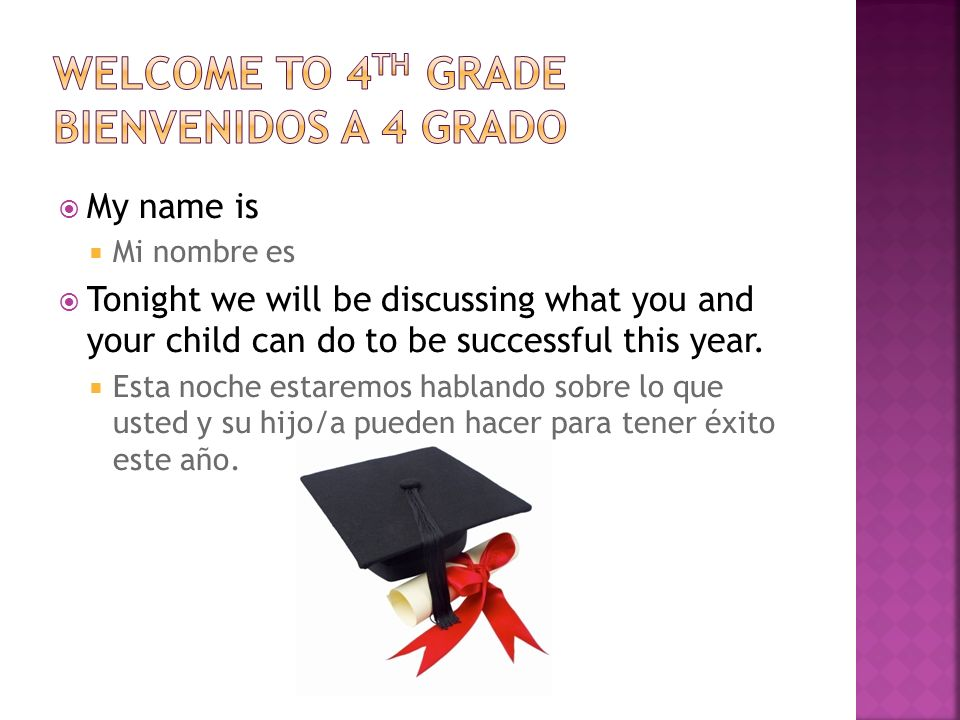 My name is Mi nombre es Tonight we will be discussing what you and your child can do to be successful this year.