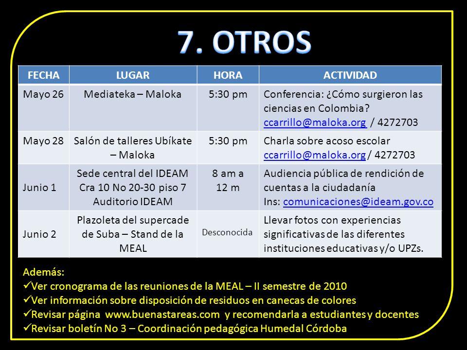FECHALUGARHORAACTIVIDAD Mayo 26Mediateka – Maloka5:30 pmConferencia: ¿Cómo surgieron las ciencias en Colombia.