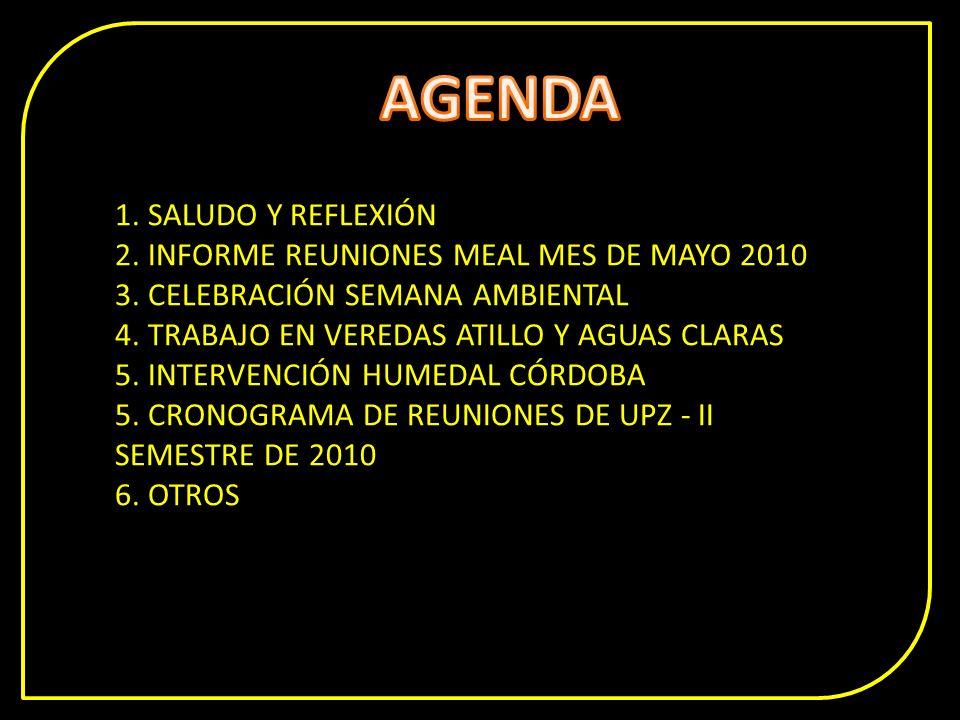 1. SALUDO Y REFLEXIÓN 2. INFORME REUNIONES MEAL MES DE MAYO 2010 3. CELEBRACIÓN SEMANA AMBIENTAL 4. TRABAJO EN VEREDAS ATILLO Y AGUAS CLARAS 5. INTERV
