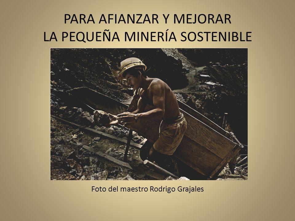 PARA AFIANZAR Y MEJORAR LA PEQUEÑA MINERÍA SOSTENIBLE Foto del maestro Rodrigo Grajales