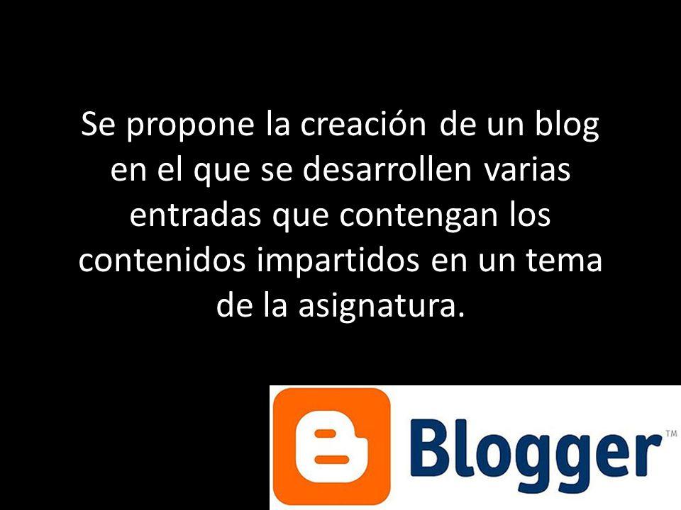 Se propone la creación de un blog en el que se desarrollen varias entradas que contengan los contenidos impartidos en un tema de la asignatura.