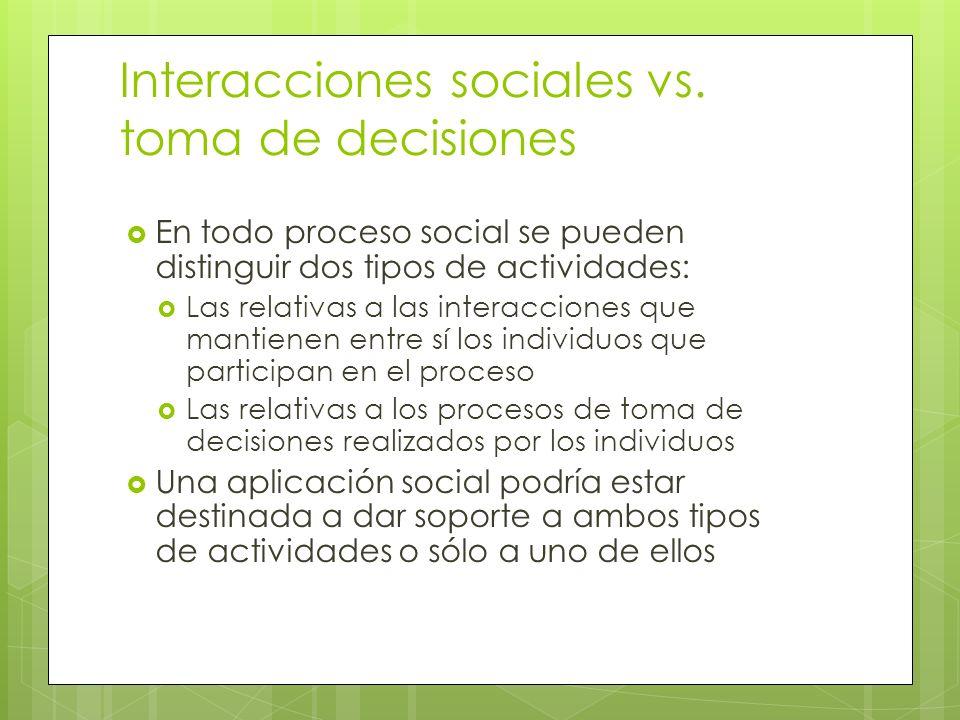Interacciones sociales vs. toma de decisiones En todo proceso social se pueden distinguir dos tipos de actividades: Las relativas a las interacciones