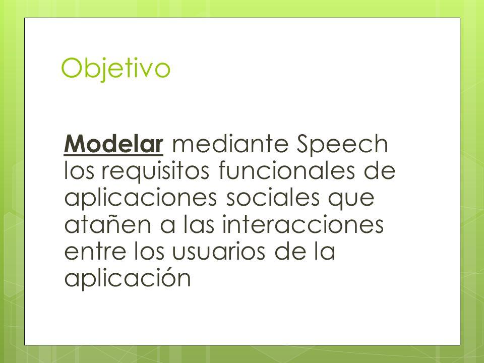 Objetivo Modelar mediante Speech los requisitos funcionales de aplicaciones sociales que atañen a las interacciones entre los usuarios de la aplicació