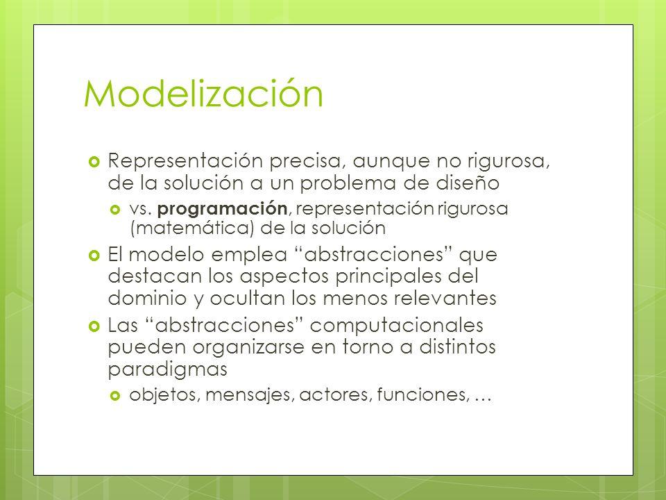 Modelización Representación precisa, aunque no rigurosa, de la solución a un problema de diseño vs. programación, representación rigurosa (matemática)