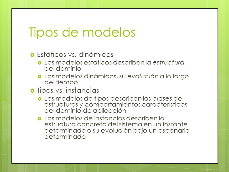 Tipos de modelos Estáticos vs. dinámicos Los modelos estáticos describen la estructura del dominio Los modelos dinámicos, su evolución a lo largo del