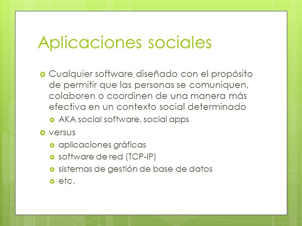 Aplicaciones sociales Cualquier software diseñado con el propósito de permitir que las personas se comuniquen, colaboren o coordinen de una manera más