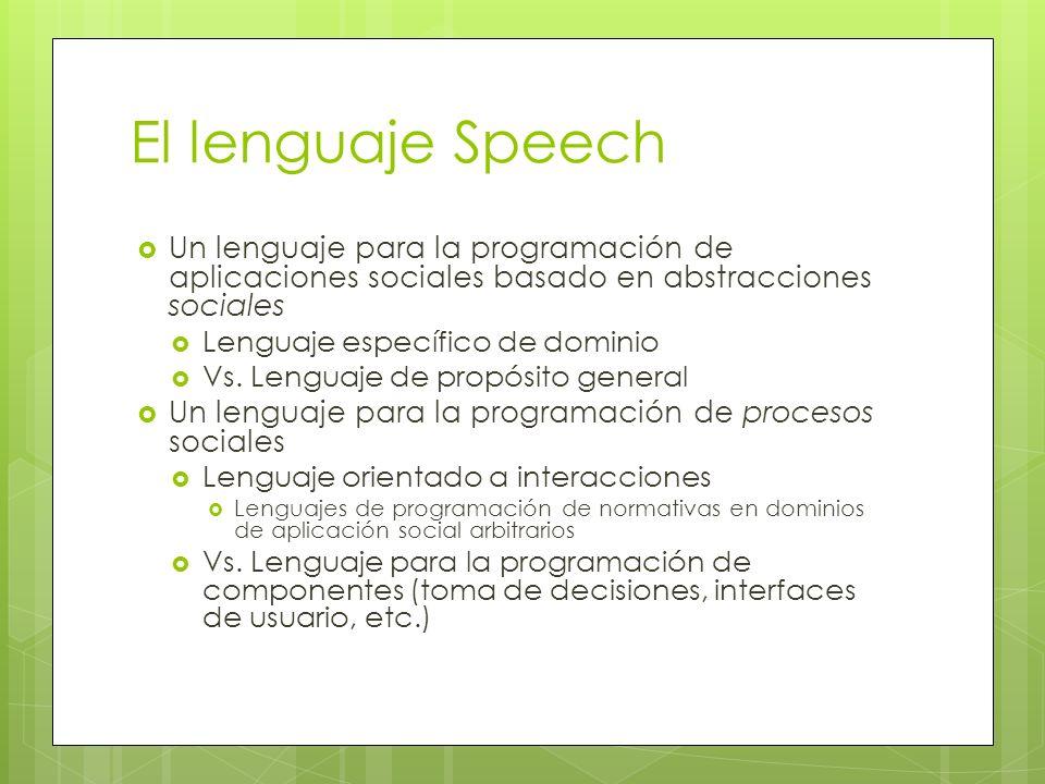 El lenguaje Speech Un lenguaje para la programación de aplicaciones sociales basado en abstracciones sociales Lenguaje específico de dominio Vs. Lengu