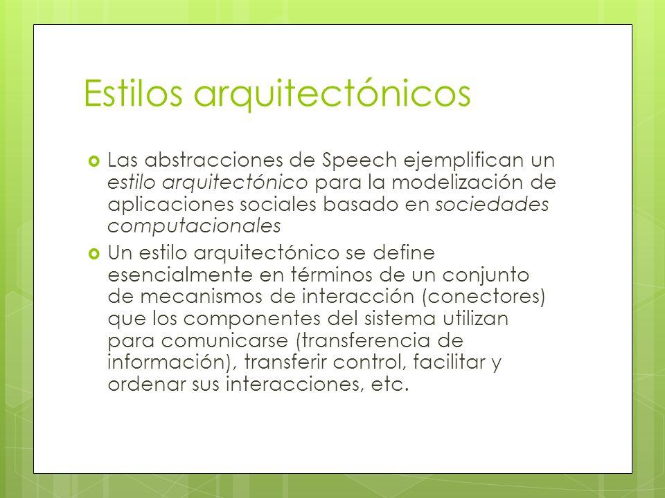 Estilos arquitectónicos Las abstracciones de Speech ejemplifican un estilo arquitectónico para la modelización de aplicaciones sociales basado en soci
