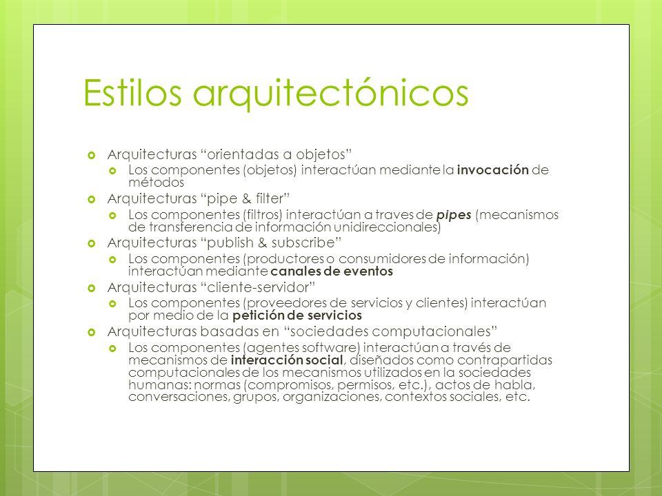 Estilos arquitectónicos Arquitecturas orientadas a objetos Los componentes (objetos) interactúan mediante la invocación de métodos Arquitecturas pipe