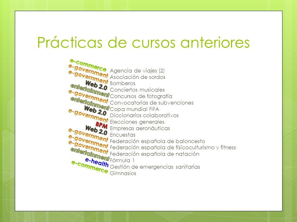 Prácticas de cursos anteriores Agencia de viajes (2) Asociación de sordos Bomberos Conciertos musicales Concursos de fotografía Convocatorias de subve