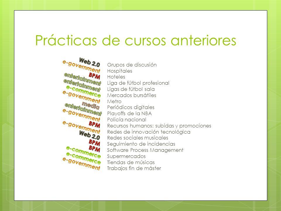Prácticas de cursos anteriores Grupos de discusión Hospitales Hoteles Liga de fútbol profesional Ligas de fútbol sala Mercados bursátiles Metro Periód