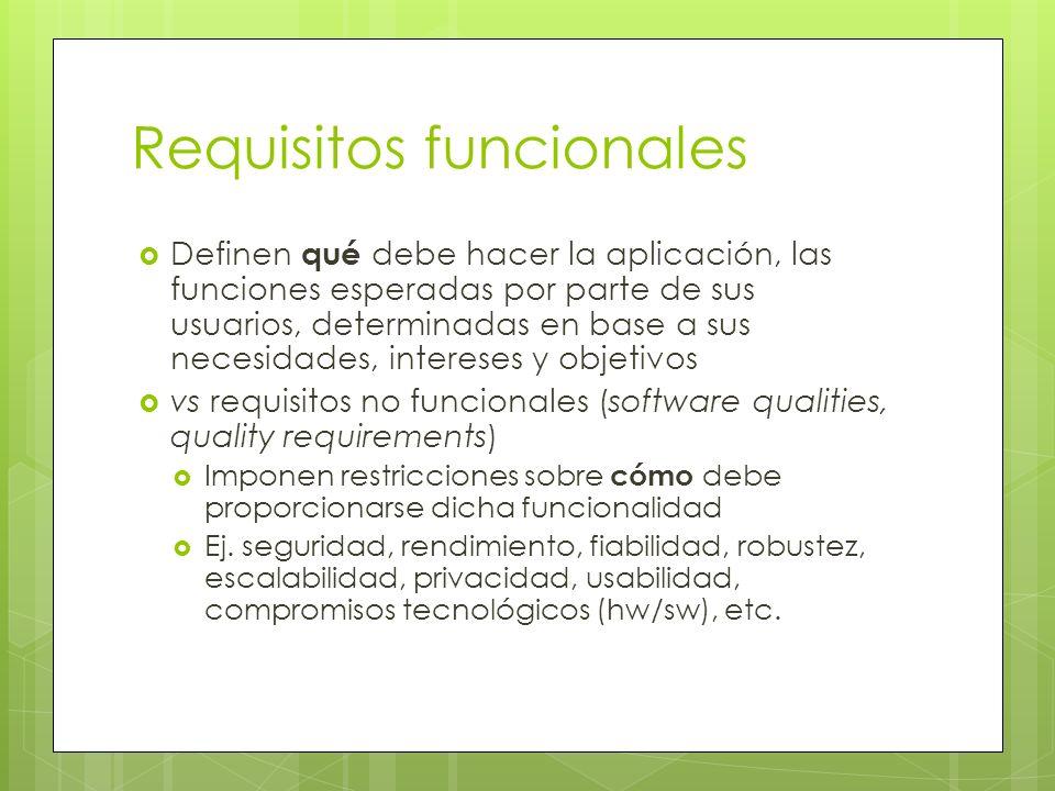 Requisitos funcionales Definen qué debe hacer la aplicación, las funciones esperadas por parte de sus usuarios, determinadas en base a sus necesidades