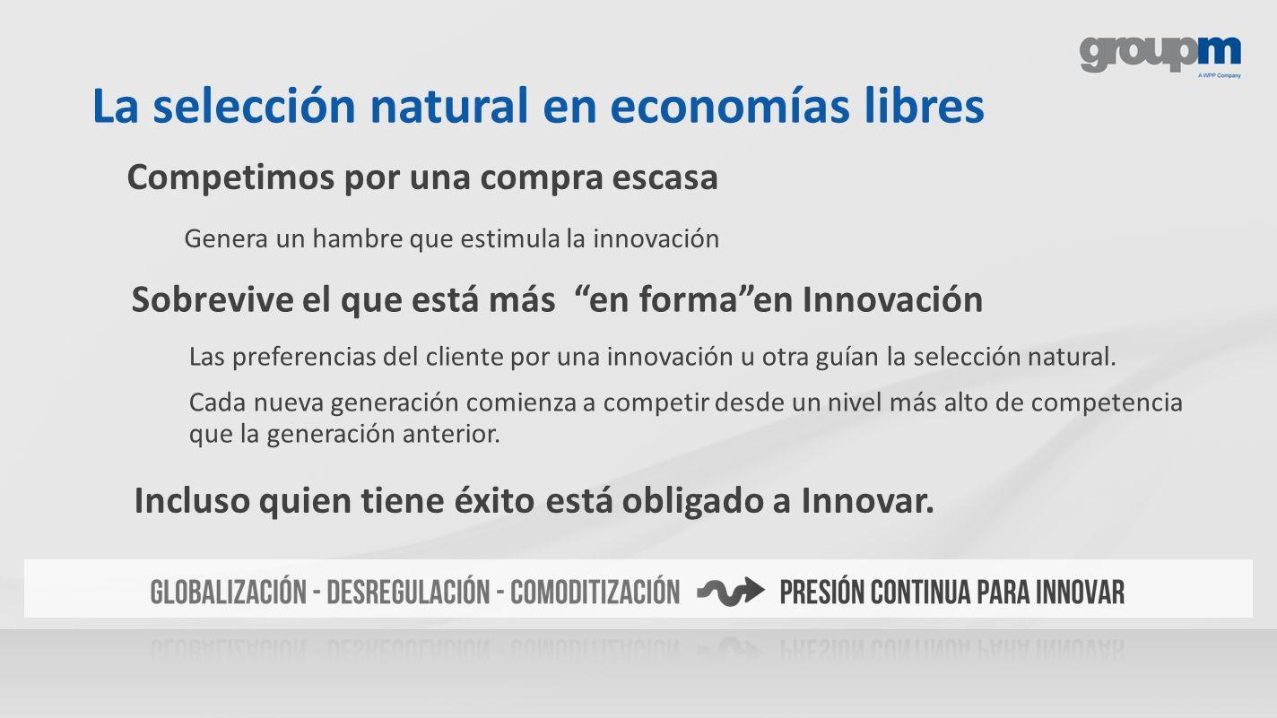 La selección natural en economías libres Sobrevive el que está más en formaen Innovación Las preferencias del cliente por una innovación u otra guían