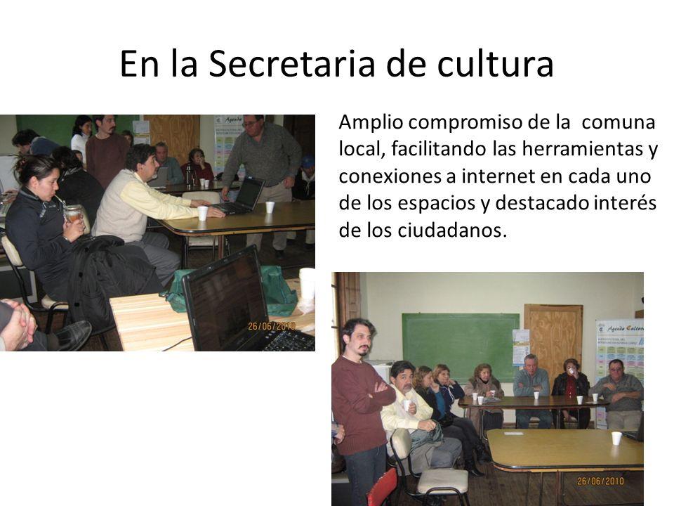En la Secretaria de cultura Amplio compromiso de la comuna local, facilitando las herramientas y conexiones a internet en cada uno de los espacios y destacado interés de los ciudadanos.