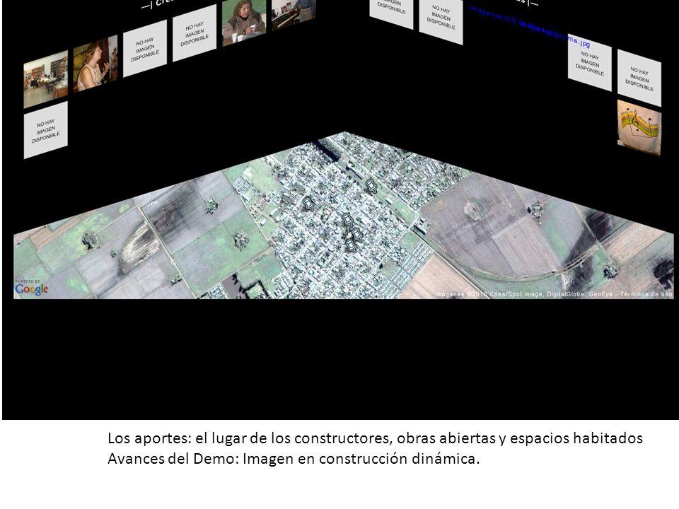 Los aportes: el lugar de los constructores, obras abiertas y espacios habitados Avances del Demo: Imagen en construcción dinámica.