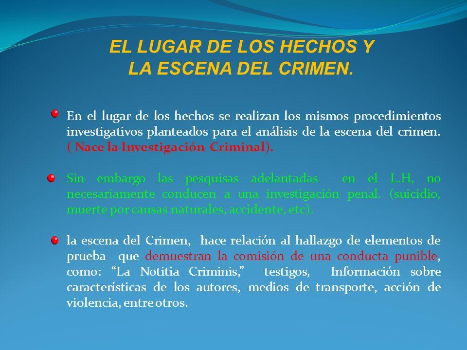 LUGAR DE LOS HECHOS Y ESCENA DEL CRIMEN.