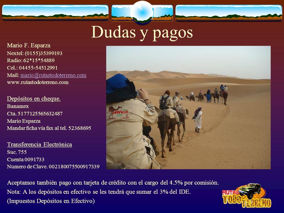 Dudas y pagos Mario F. Esparza Nextel: (0155)35399193 Radio: 62*15*54889 Cel.: 04455-54512991 Mail: mario@rutastodoterreno.commario@rutastodoterreno.c