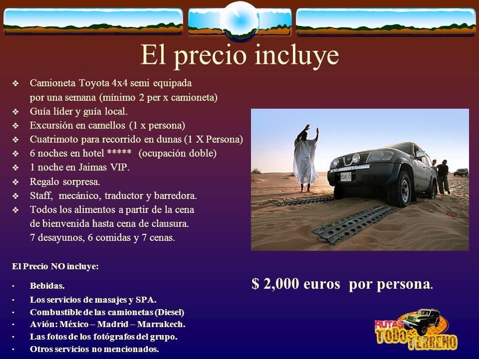 El precio incluye Camioneta Toyota 4x4 semi equipada por una semana (mínimo 2 per x camioneta) Guía líder y guía local. Excursión en camellos (1 x per