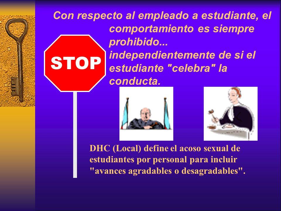 Con respecto al empleado a estudiante, el comportamiento es siempre prohibido...