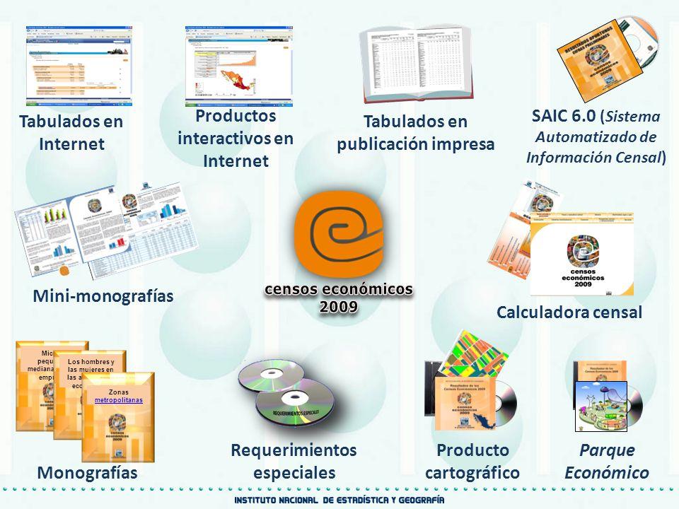 Producto cartográfico SAIC 6.0 (Sistema Automatizado de Información Censal) Tabulados en publicación impresa Mini-monografías Calculadora censal Tabul