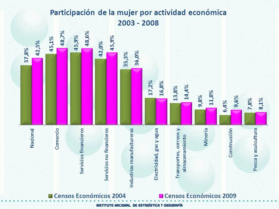 Participación de la mujer por actividad económica 2003 - 2008