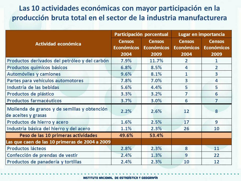 Actividad económica Participación porcentualLugar en importancia Censos Económicos 2004 Censos Económicos 2009 Censos Económicos 2004 Censos Económico