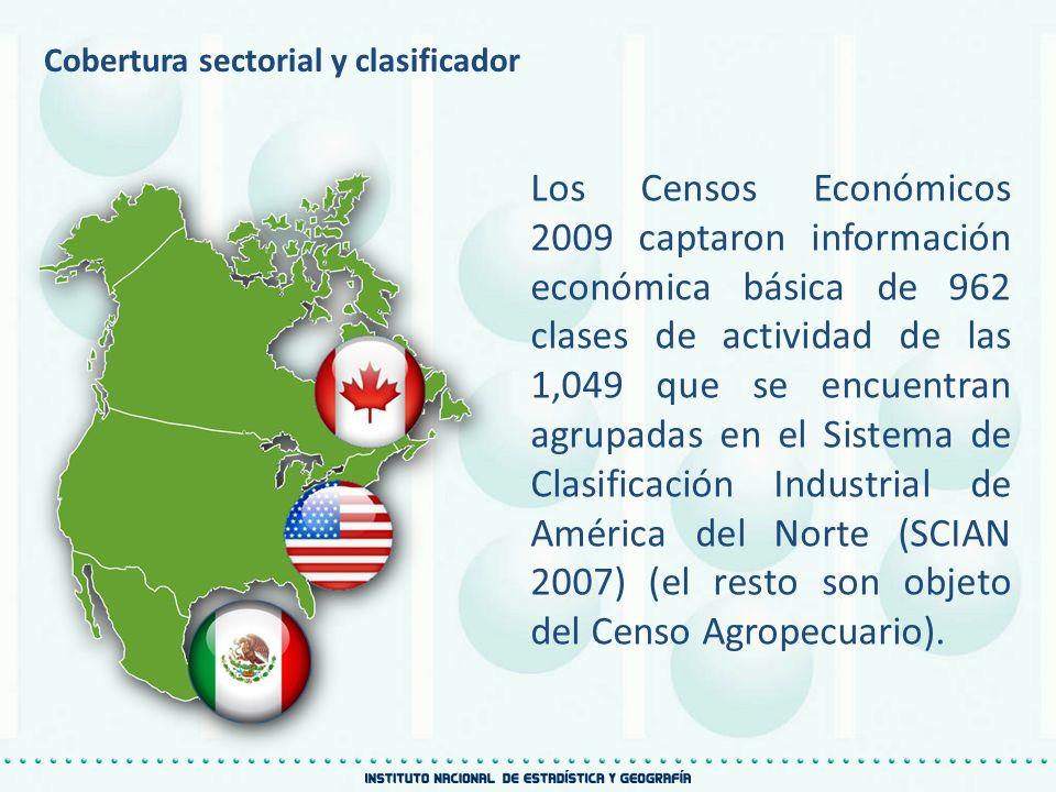 Cobertura sectorial y clasificador Los Censos Económicos 2009 captaron información económica básica de 962 clases de actividad de las 1,049 que se enc