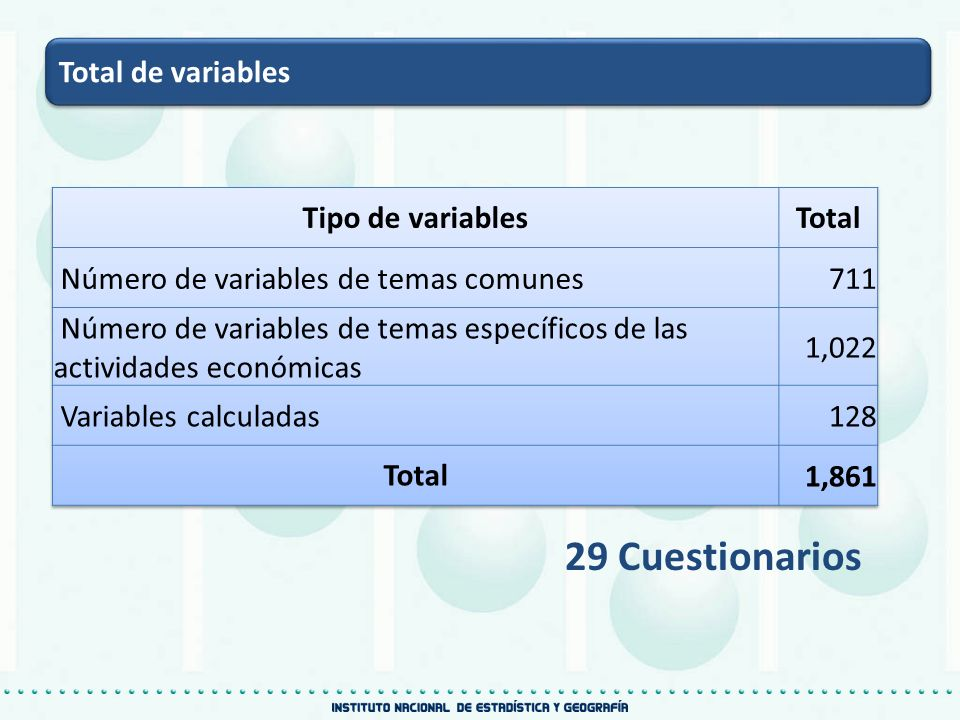 Total de variables 29 Cuestionarios