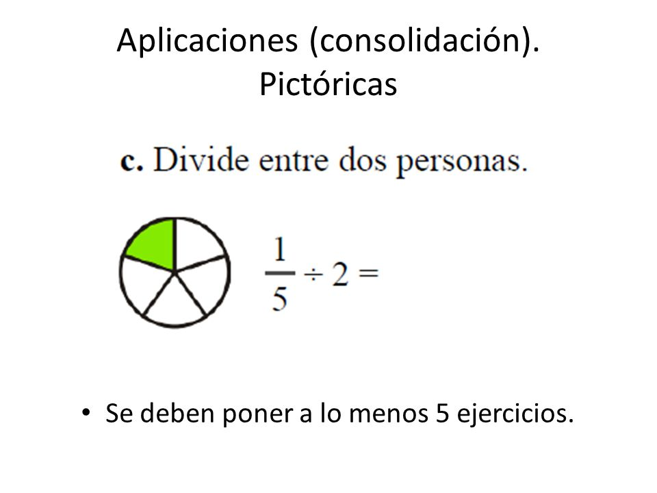 Aplicaciones (consolidación). Pictóricas Se deben poner a lo menos 5 ejercicios.