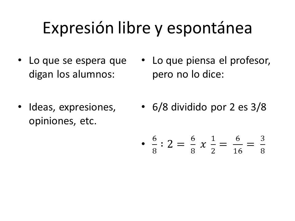 Expresión libre y espontánea Lo que se espera que digan los alumnos: Ideas, expresiones, opiniones, etc.