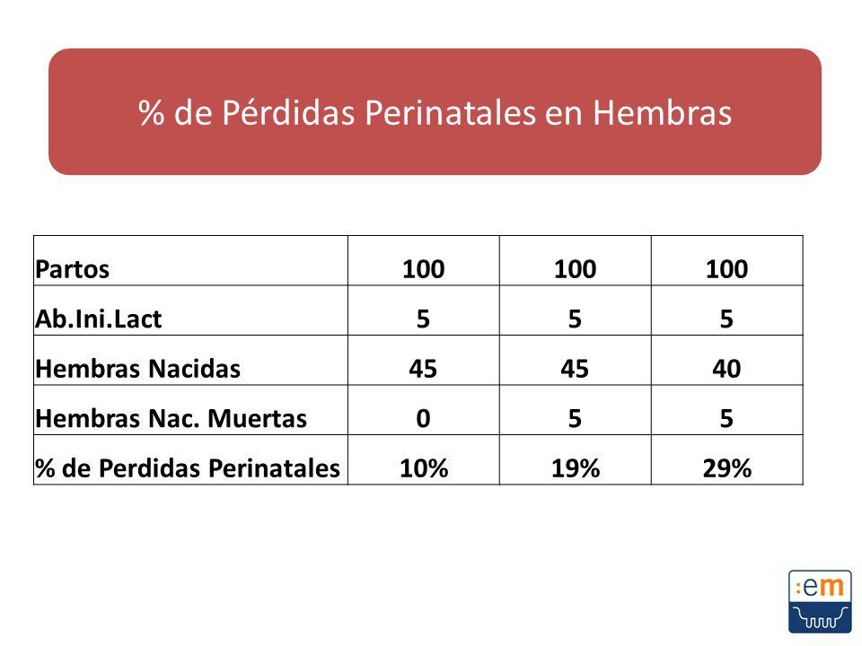 Partos100 Ab.Ini.Lact555 Hembras Nacidas45 40 Hembras Nac. Muertas055 % de Perdidas Perinatales10%19%29% % de Pérdidas Perinatales en Hembras