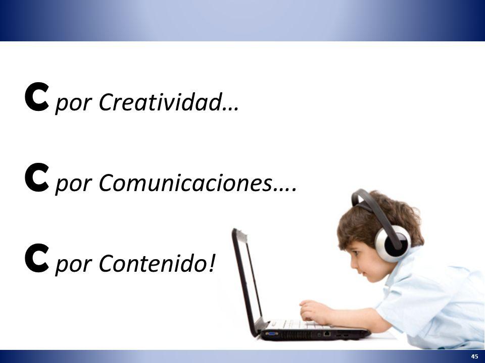 45 C por Creatividad… C por Comunicaciones…. C por Contenido!