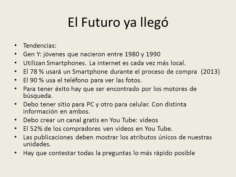 El Futuro ya llegó Tendencias: Gen Y: jóvenes que nacieron entre 1980 y 1990 Utilizan Smartphones. La internet es cada vez más local. El 78 % usará un