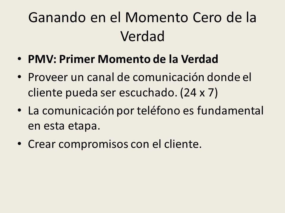 Ganando en el Momento Cero de la Verdad PMV: Primer Momento de la Verdad Proveer un canal de comunicación donde el cliente pueda ser escuchado. (24 x