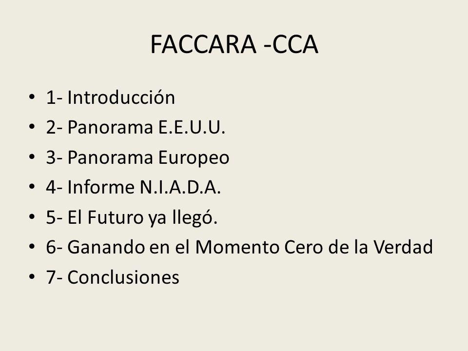 FACCARA -CCA 1- Introducción 2- Panorama E.E.U.U. 3- Panorama Europeo 4- Informe N.I.A.D.A. 5- El Futuro ya llegó. 6- Ganando en el Momento Cero de la