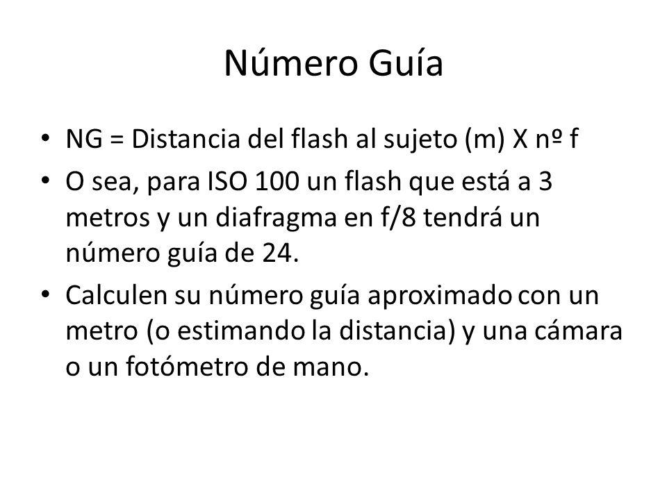 Número Guía NG = Distancia del flash al sujeto (m) X nº f O sea, para ISO 100 un flash que está a 3 metros y un diafragma en f/8 tendrá un número guía