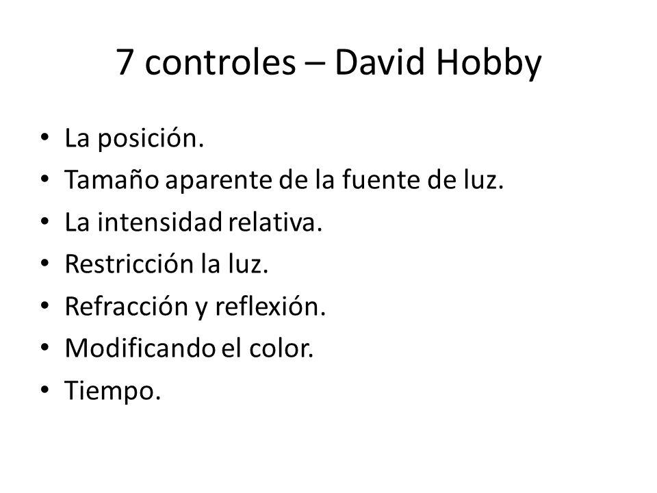 7 controles – David Hobby La posición. Tamaño aparente de la fuente de luz. La intensidad relativa. Restricción la luz. Refracción y reflexión. Modifi