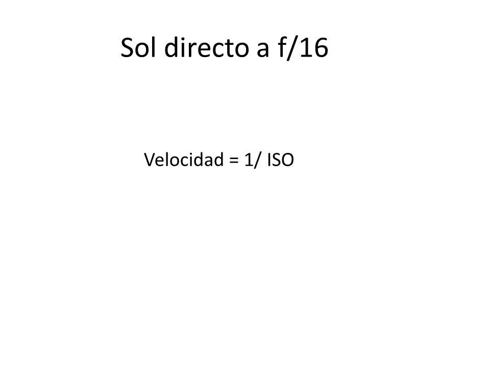 Sol directo a f/16 Velocidad = 1/ ISO