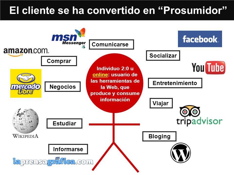 El cliente se ha convertido en Prosumidor Individuo 2:0 u online: usuario de las herramientas de la Web, que produce y consume información Socializar