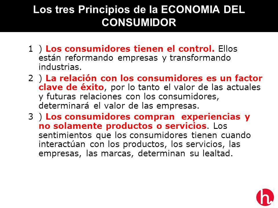 Los tres Principios de la ECONOMIA DEL CONSUMIDOR 1) Los consumidores tienen el control. Ellos están reformando empresas y transformando industrias. 2